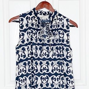 Navy Blue & White Floral Vine Sleeveless Top Sz S